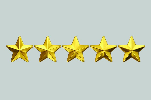 Five gold stars on a grey background.