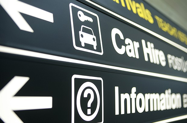 Airport car hire sign