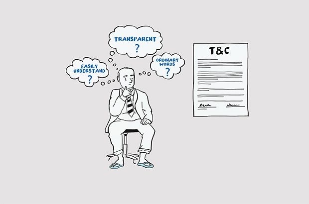 Illustration of businessman thinking about contract terms