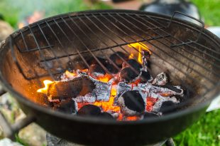 A lit barbecue with coals