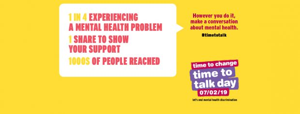 time to talk banner with the text '1 in 4 experiencing a mental health problem, 1 share to show your support, thousands of people reached'