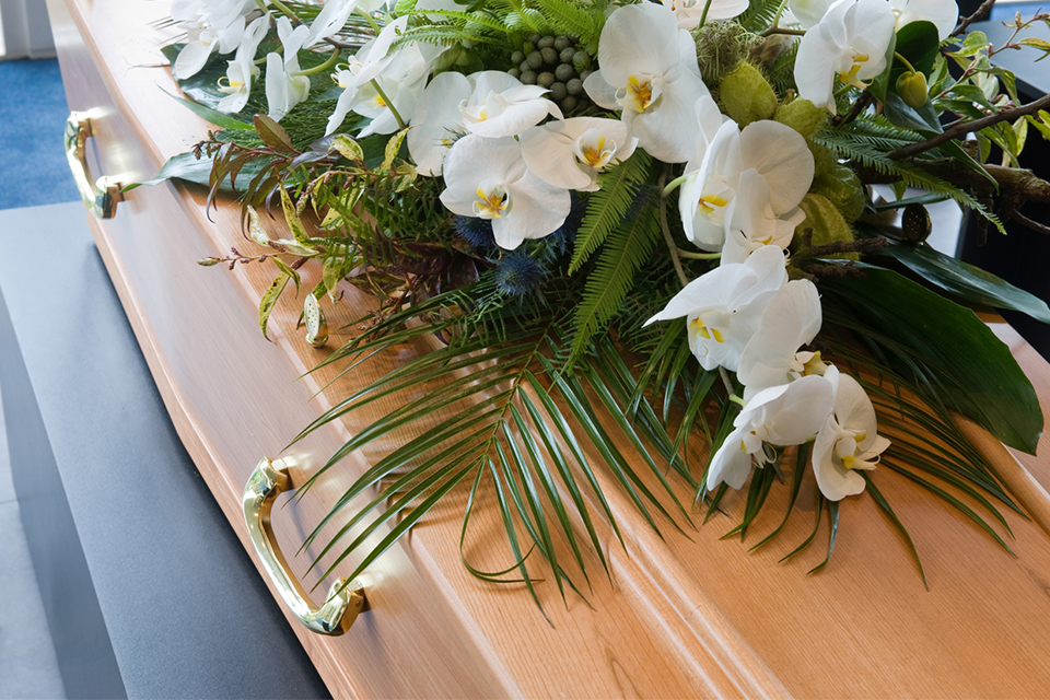 Lilies on a coffin.