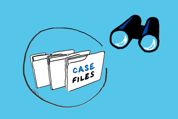 Cartoon drawing of case files and a binocular