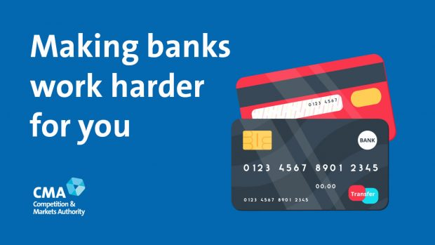 Picture of bank cards with text saying 'making banks work harder for you'