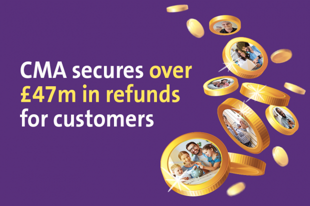 People and money with text: CMA secures over £47 million in refunds for customers
