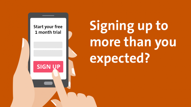 phone in hand with finger clicking on free trial sign up button. Text: 'Signing up to more than you expected?'
