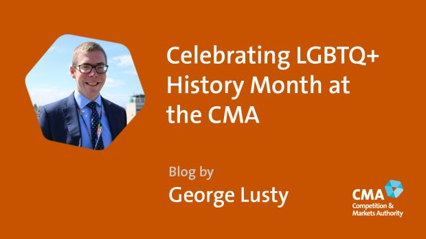 Image showing George Lusty on an orange background, with CMA logo